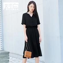 对白短袖雪纺连衣裙女夏2018新款V领收腰通勤简约中长款小黑裙子图片