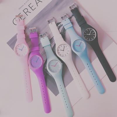 韓版簡約初中學生可愛女孩男孩考試果凍手表防水夜光潮流 ulzzang雙十一折扣