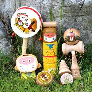 木玩世家大圣归来复古儿童玩具陀螺拨浪鼓溜溜球剑玉响板感统训练