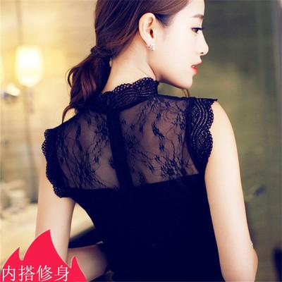 2018夏季新款韩版百搭修身显瘦镂空蕾丝背心立领短袖打底衫女上衣