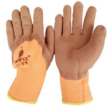 ウールラテックス厚い冬の暖かい滑り止めの耐摩耗性の大きなゴム製保護手袋と労働保険手袋プラスベルベット