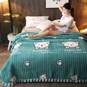 Korean cartoon crystal velvet winter thick plush sheets double bed cover single piece flannel quilted quilted