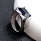 Men's ring pure silver inlaid tanzan sapphire tide men's rectangular color treasure personality bully male ring opening adjustable