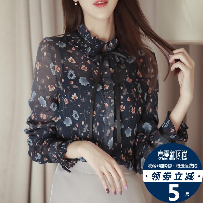 春装2019新款女很仙的上衣碎花雪纺衬衫长袖时尚洋气小衫秋打底衫