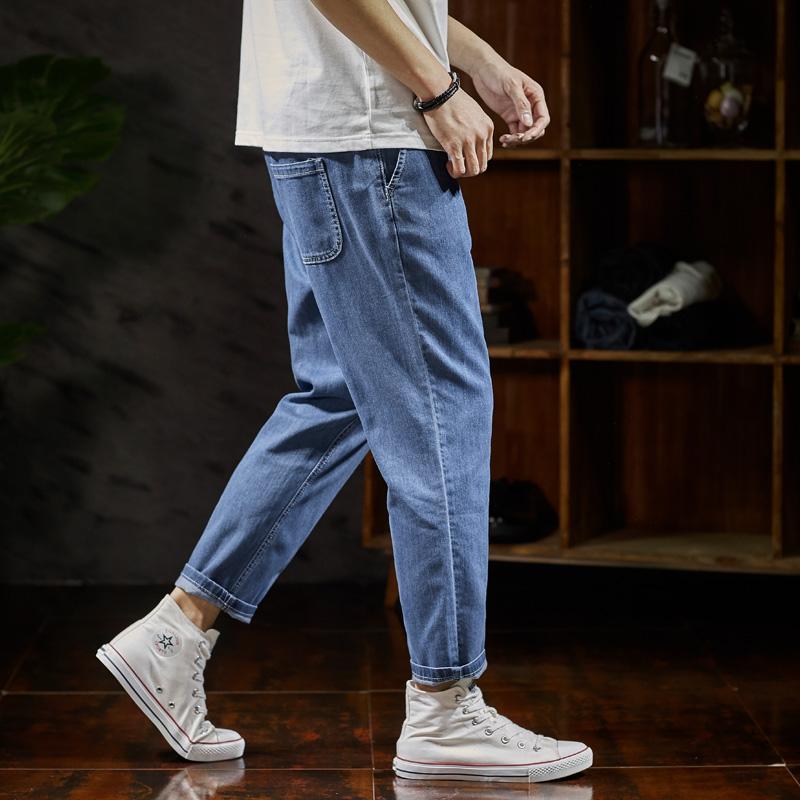 唐狮春夏新品九分牛仔裤男宽松薄款港风九分裤男潮男士牛仔裤子薄