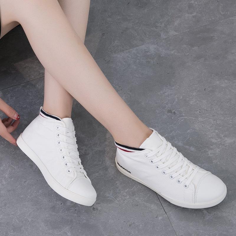 回力女鞋2018秋季新款帆布鞋女平底鞋韩版高帮小白鞋学生