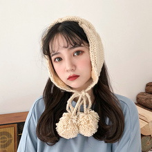 Ins girl, small, fresh, twisted, lace, warm knitted ear protectors, winter sweater, soft girl, lovely ear muff tide.