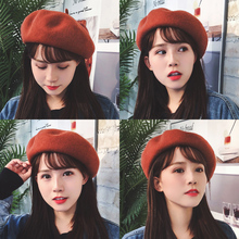 Hat female autumn and winter net red beret Korean version of Japanese wild soft sister painter hat British pumpkin 蓓 帽 hat tide