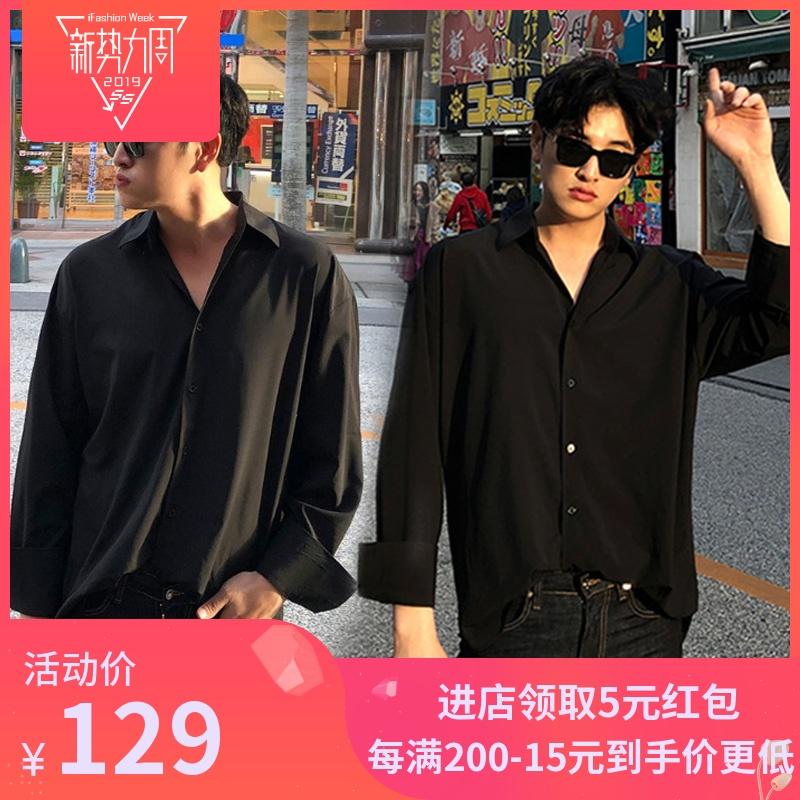 韩版宽松英伦流行帅气潮流黑色衬衫男ins薄款学生休闲衬衣男装潮