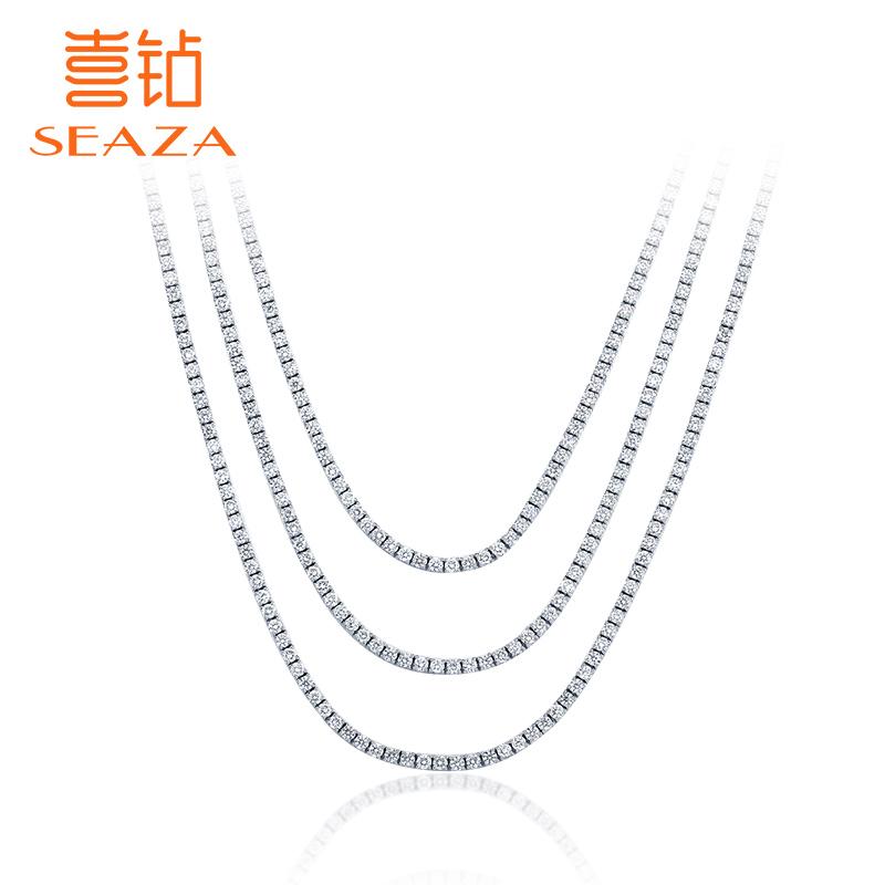 喜钻 白18K金豪华群镶钻石珠宝首饰项链三层奢华宴会钻石项链挂坠