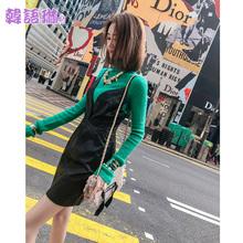 韩语琳2018新款女装秋冬裙子韩版性感V领吊带连衣裙高腰修身短裙图片