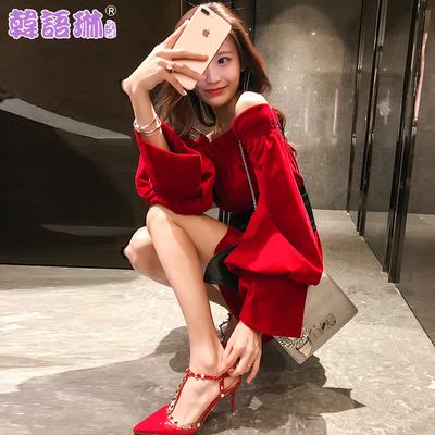 韩语琳空间春夏2019新款女气质性感露肩一字领腰带收腰显瘦连衣裙
