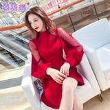 韩语琳春夏红色裙子2019新款女装潮韩版性感网纱拼接灯笼袖连衣裙