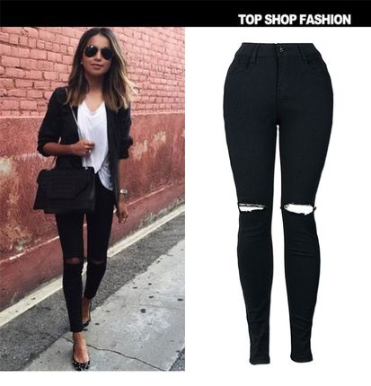 2018 Plus Size Women High Waist Skinny Jeans Pencil denim女