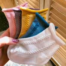 Children's socks Summer thin cotton boys and girls socks Baby loose-lipped curly socks Pure color boat socks Children's socks