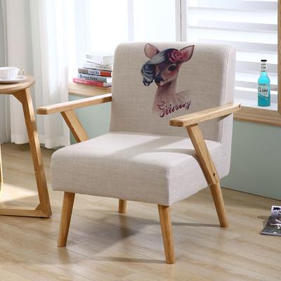 单人沙发实木布艺懒人椅小户型阳台卧室休闲日式北欧简约现代电脑