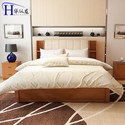 板式床简约现代1.5米单人床高箱床储物床1.8双人床实木板床经济型品牌巨惠