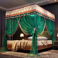 新款方顶蚊帐宫廷落地式家用1.5米蚊帐三开门1.8m双人床纹帐1.2米