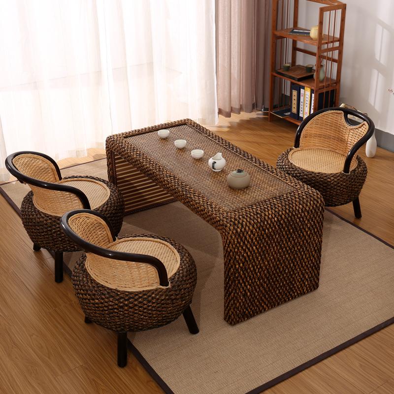 藤编茶桌茶台茶桌椅组合小茶艺桌实木阳台仿古新中式功夫茶几民宿