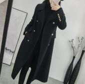 修身 显瘦秋冬季新款 2018赫本呢子大衣女 黑色毛呢外套女中长款 韩版图片
