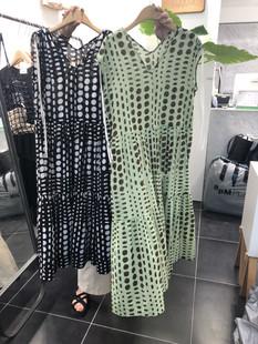 現~韓國東大門2019夏季款復古波點無袖V領肩帶寬松薄款氣質連衣裙