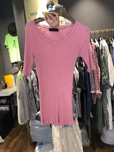 Nowadays ~South Korea East Gate in Spring and Summer of 2019 Fashion Pure-colour V-collar, Slender and Slender Knitted Thin Short-sleeved T-shirt Girl