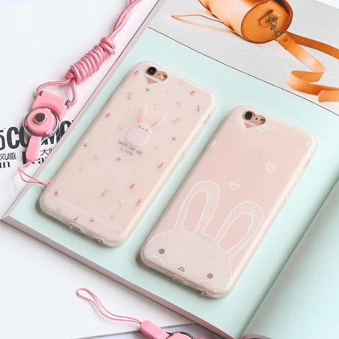 天天特价iphone6手机壳苹果6splus保护硅胶超薄磨砂7/8粉兔简约