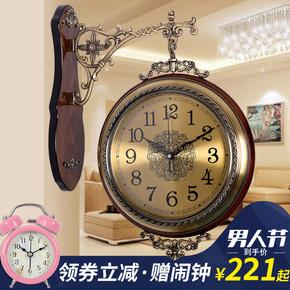 欧式钟表双面挂钟静音客厅美式实木石英钟两面挂表复古创意大时钟