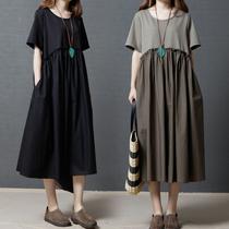 170斤微胖mm宽松大码女装夏季新款遮肉显瘦棉麻轻复古洋气连衣裙