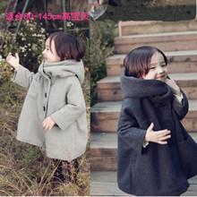 韩国童装冬小孩女童毛呢外套加绒加厚韩版呢大衣儿童宝宝斗篷呢子