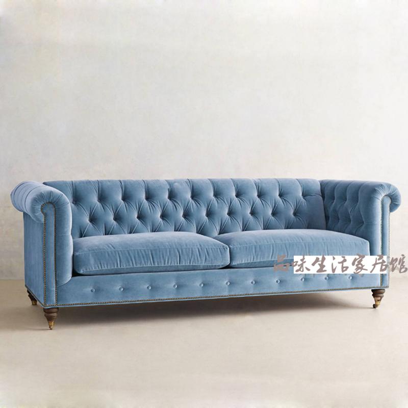 美式欧式布艺沙发三人位