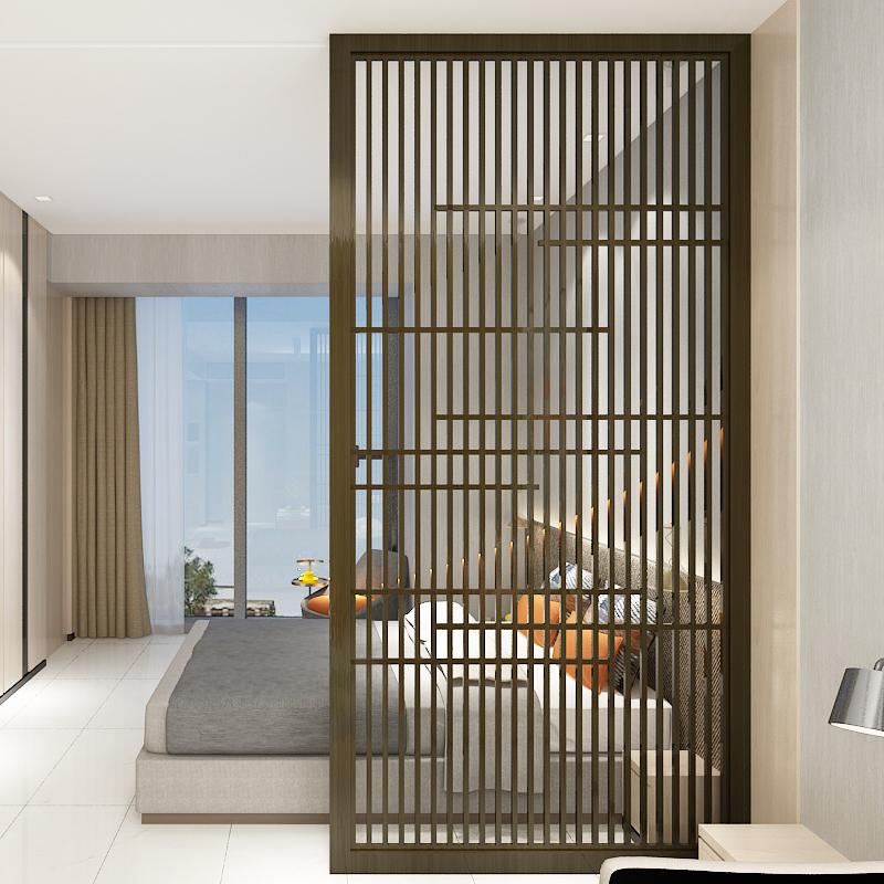 中式实木栅栏客厅玄关通顶隔断屏风入户酒店餐厅卧室隔断定制座屏