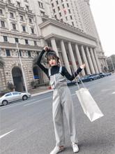 时尚 宽松小清新背带裤 秋装 女2018冬新款 套装 韩版 打底T恤两件套潮
