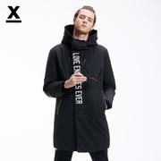 dx冬季潮牌男士长款鸭绒保暖皮质拼接字母印花连帽修身黑色羽绒服
