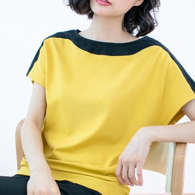 2018夏装新款韩版宽松大码胖mm半袖上衣纯棉撞色拼接短袖t恤女装