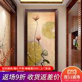 东南亚风格纯手绘抽象油画新中式玄关装饰画竖版过道壁画走廊挂画