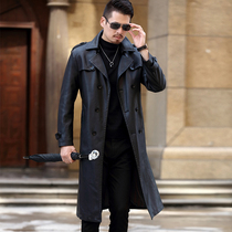 长款真皮皮衣男士风衣过膝加肥加大码皮大衣双排扣中长款皮风衣厚