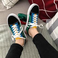 韩版 原宿ulzzang滑板鞋 男学生百搭情侣休闲鞋 2018春季街拍帆布鞋