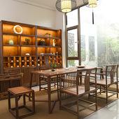 新中式守靜枳酪巫楹俠嫌苣眷意功夫茶臺桌北美黑胡桃木明式家具