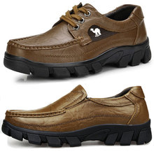 米斯特骆驼男鞋户外休闲皮鞋软底真皮厚底单皮鞋低帮耐磨工装鞋