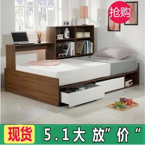 简约现代 板式抽屉床 多功能储物床 书架床带电脑桌 可定制