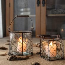 北欧创意客厅铁艺花瓶蜡烛镂空玻璃复古烛台摆件装 饰铁艺圣诞风灯