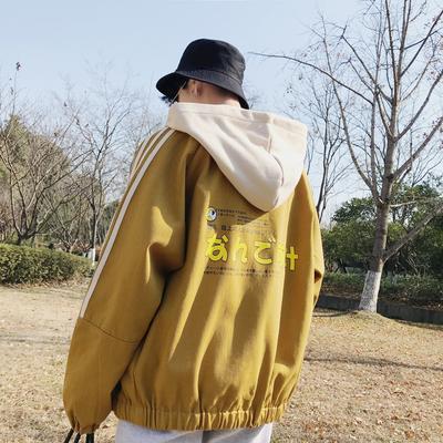 日韩风气质春装青年连帽撞色拼接卡通印花男士夹克潮外套休闲男装