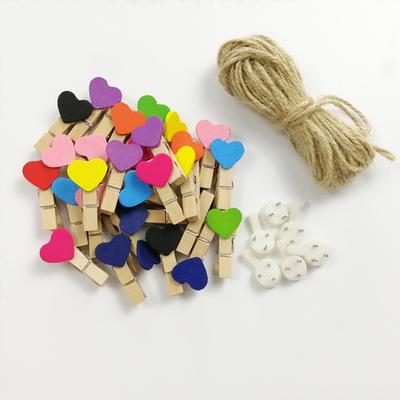 创意照片墙夹子麻绳纸相框彩色爱心夹子无痕钉相片夹装饰挂墙包邮