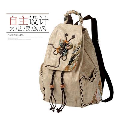 复古民族风帆布女式双肩包束口女士文艺韩版大中学生书包休闲背包