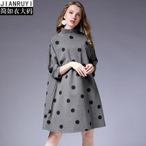 品牌新款2018秋装连衣裙欧版大码七分袖波点印花时尚宽松女装