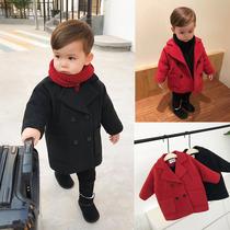 辰辰妈婴童装加绒新年装男童宝宝毛呢外套小童双排扣中长款呢大衣