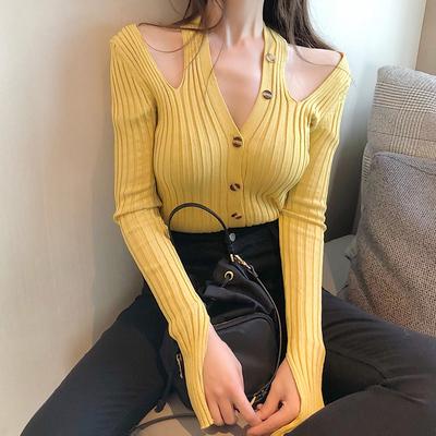 2018新款chic韩风时尚露肩修身长袖打底针织衫减龄清新开衫女装潮