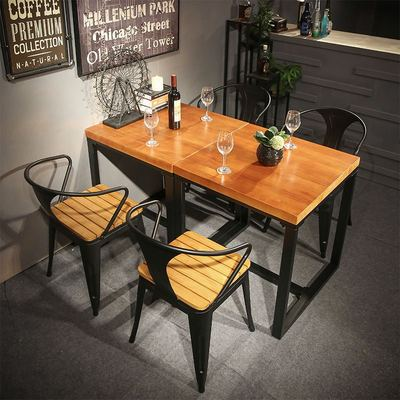 美式正方形餐桌椅组合小户型实木铁艺四方桌子复古餐厅家具工业风2018新款