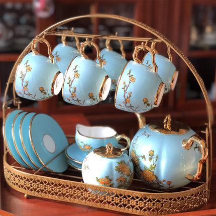欧式咖啡杯碟收纳架黑色吊杯架子铁艺茶具挂架花茶杯收纳置物架